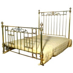 Spectacular French Art Nouveau Brass King-Size Bed