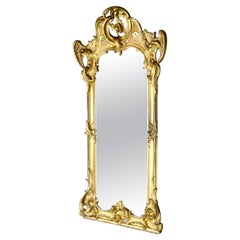 Spectacular French Water Gilt Mirror with Accented Carved Angel Wings circa 1840