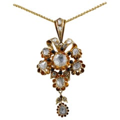 Spectacular Georgian 3.20 Carat Diamond Rare 18 Karat Flower Pendant
