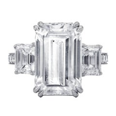 Spectacular GIA 9.38 I-VVS2 Emerald Cut Diamond Ring
