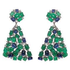 Spectacular Gianni Lazzaro Emerald Sapphire Diamond White 18k Gold Drop Earrings