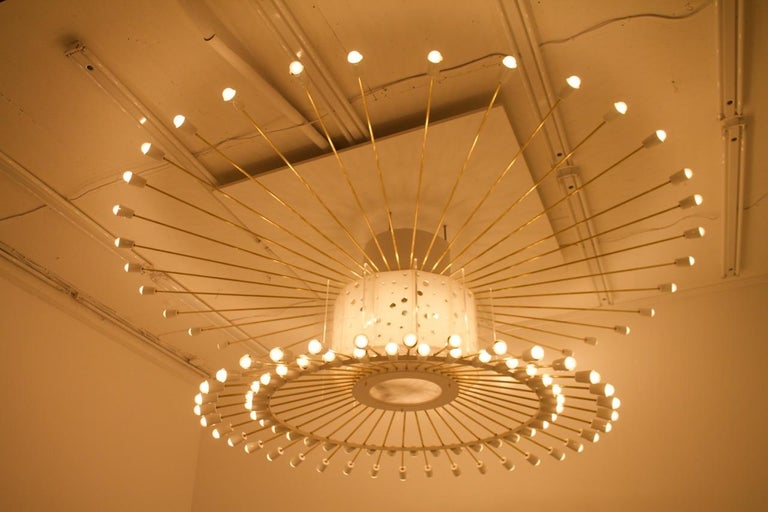 Mid-Century Modern Spectacular Giant Sputnik Ceiling Lamp with 132 Bulbs, 1950s For Sale