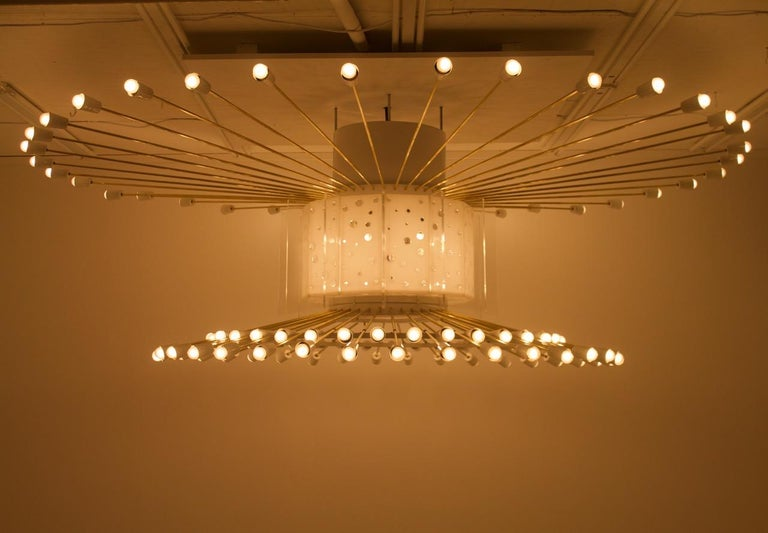 German Spectacular Giant Sputnik Ceiling Lamp with 132 Bulbs, 1950s For Sale