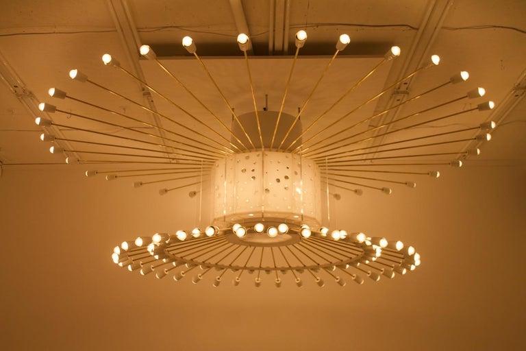 Lacquered Spectacular Giant Sputnik Ceiling Lamp with 132 Bulbs, 1950s For Sale