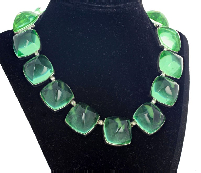 Gorgeous glittering green Baccarat necklace set in Sterling Silver - 16