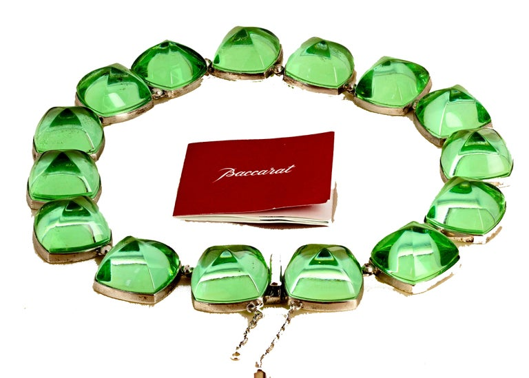 Real Baccarat Spectacular Glittering Elegant Magnificent Green Necklace In Excellent Condition For Sale In Tuxedo Park, NY