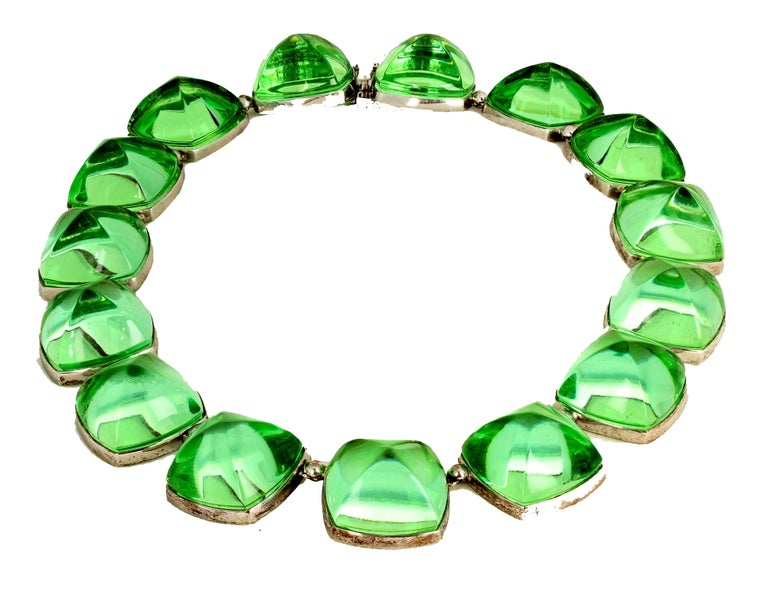 Women's or Men's Real Baccarat Spectacular Glittering Elegant Magnificent Green Necklace For Sale
