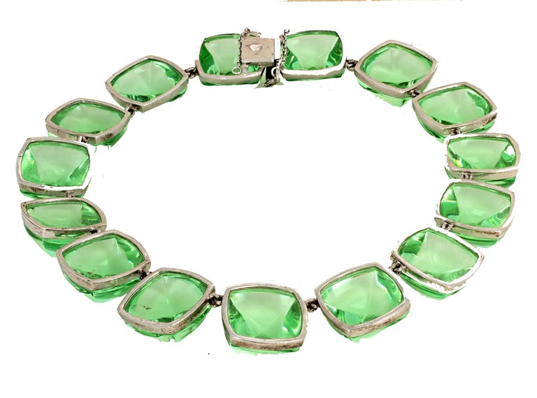 Real Baccarat Spectacular Glittering Elegant Magnificent Green Necklace For Sale 1