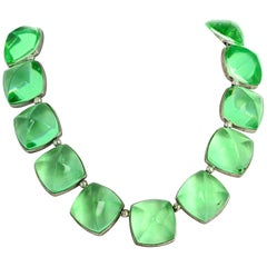 Spectacular Glittering Elegant Baccarat Green Necklace