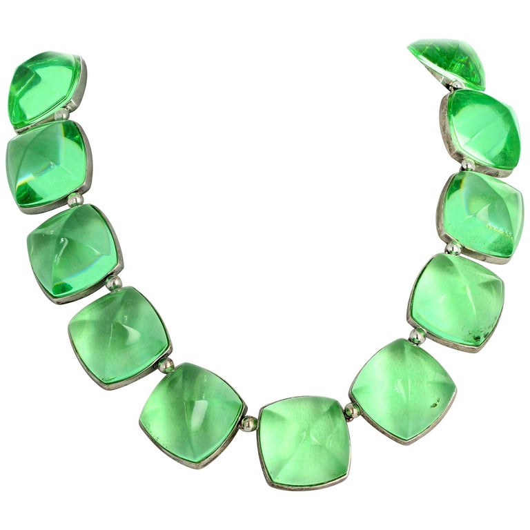 Real Baccarat Spectacular Glittering Elegant Magnificent Green Necklace For Sale