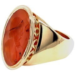 Spectacular Gold and Carnelian Crest Ring