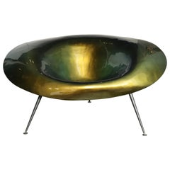 Spectacular Green Metallic Coated Resin Morphic Chair