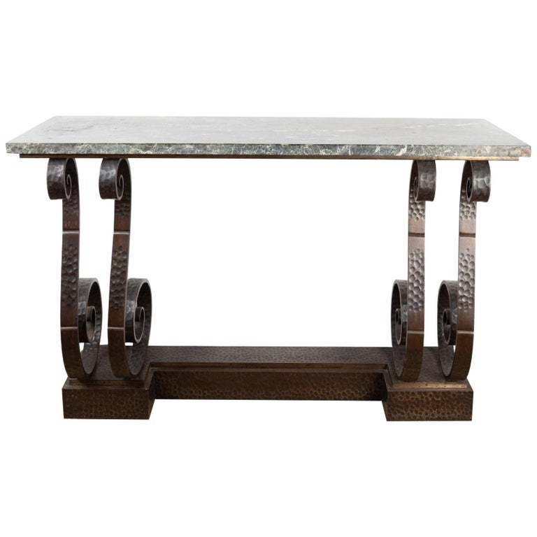 Spectacular Hammered Wroughtiron Art Deco Console Table, att  E. Brandt, France For Sale