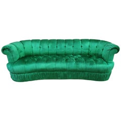Spectacular Hollywood Regency Tufted Curved Kidney Sofa