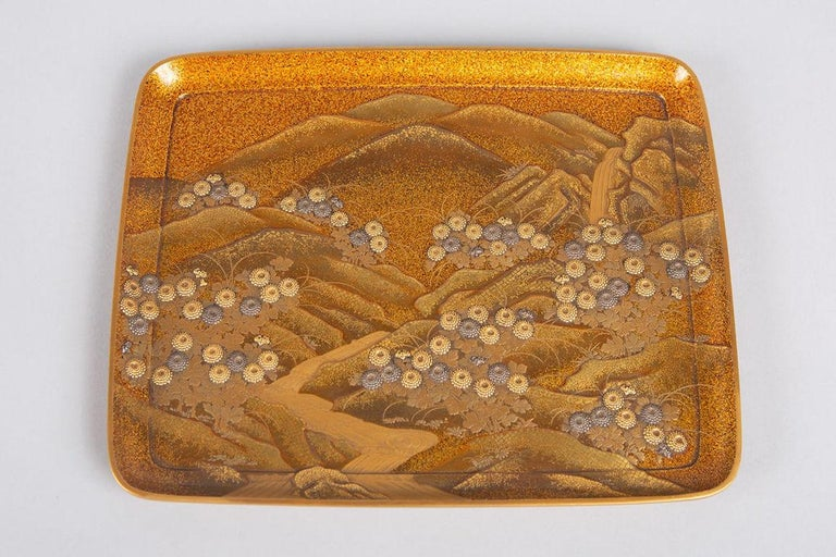 Spectacular Incense Box, Hills and River, Gold and Silver Chrysanthemums For Sale 5