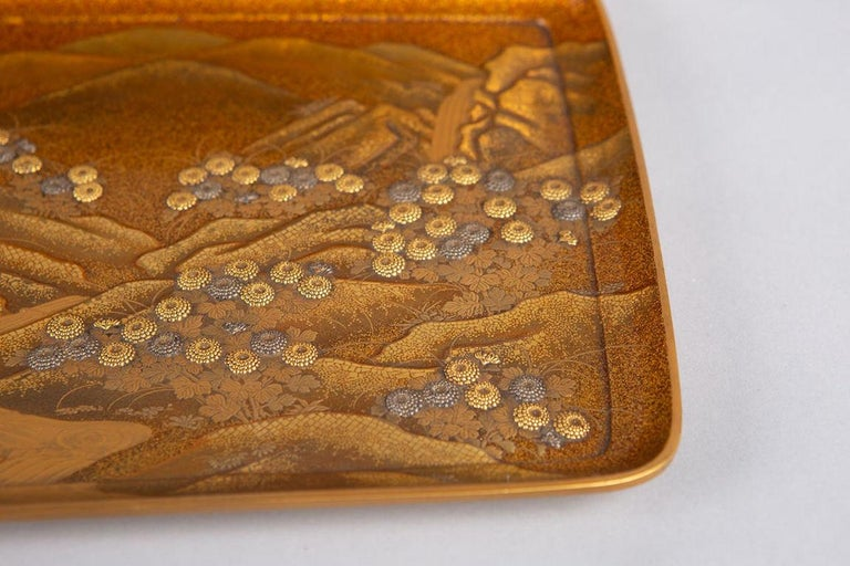 Spectacular Incense Box, Hills and River, Gold and Silver Chrysanthemums For Sale 6