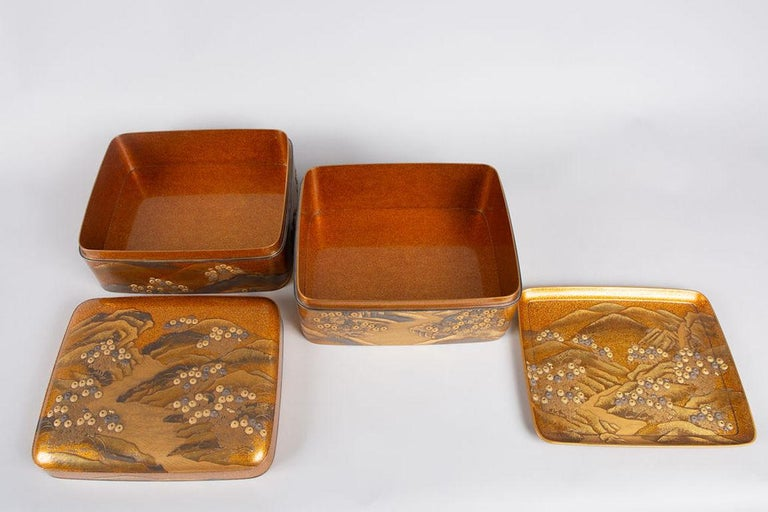 Spectacular Incense Box, Hills and River, Gold and Silver Chrysanthemums For Sale 7