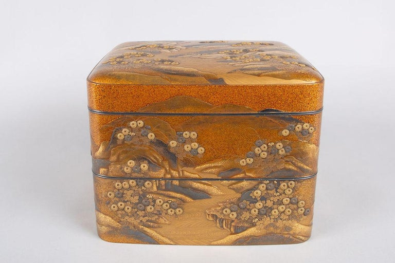 Japanese Spectacular Incense Box, Hills and River, Gold and Silver Chrysanthemums For Sale