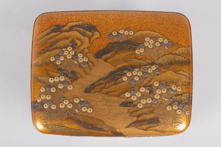 19th Century Spectacular Incense Box, Hills and River, Gold and Silver Chrysanthemums For Sale