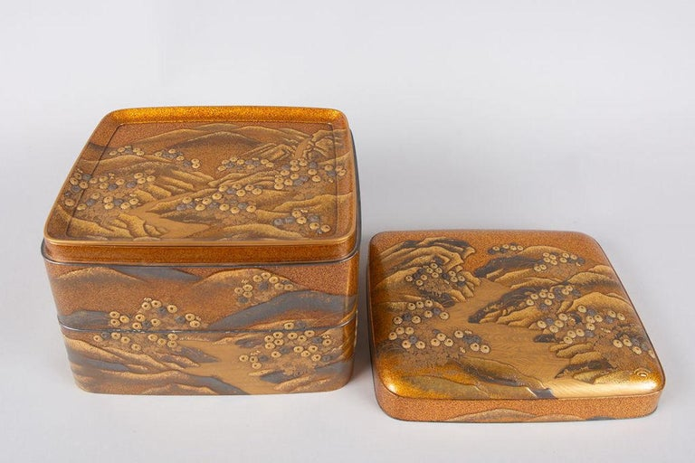 Spectacular Incense Box, Hills and River, Gold and Silver Chrysanthemums For Sale 3
