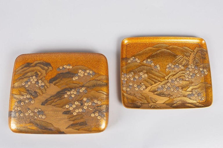 Spectacular Incense Box, Hills and River, Gold and Silver Chrysanthemums For Sale 4