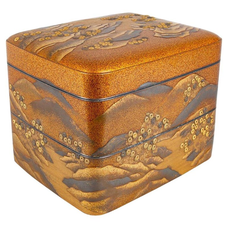 Spectacular Incense Box, Hills and River, Gold and Silver Chrysanthemums For Sale
