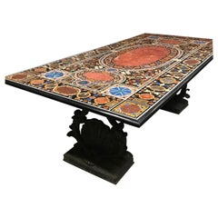 Spectacular Italian Gemstone Inlaid Dining Table