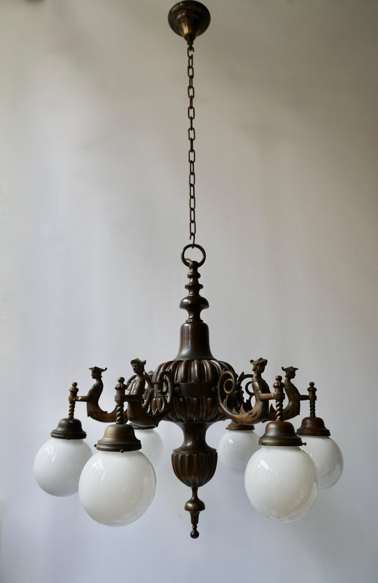 Mid-Century Modern Spectacular Italian Patinated Bronze Figural Chandelier For Sale