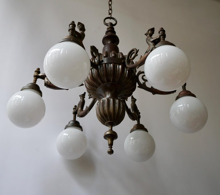 Spectacular Italian Patinated Bronze Figural Chandelier In Good Condition For Sale In Antwerp, BE