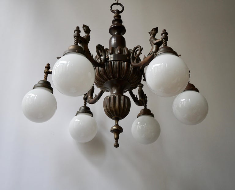 Spectacular Italian Patinated Bronze Figural Chandelier For Sale 1