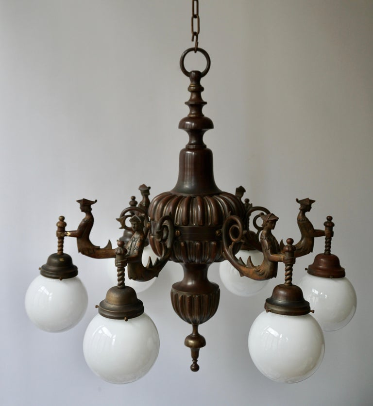 Spectacular Italian Patinated Bronze Figural Chandelier For Sale 2