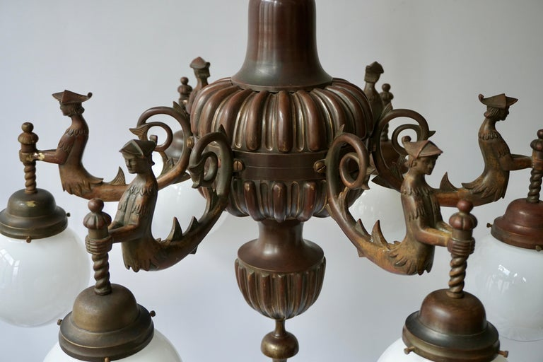 Spectacular Italian Patinated Bronze Figural Chandelier For Sale 4