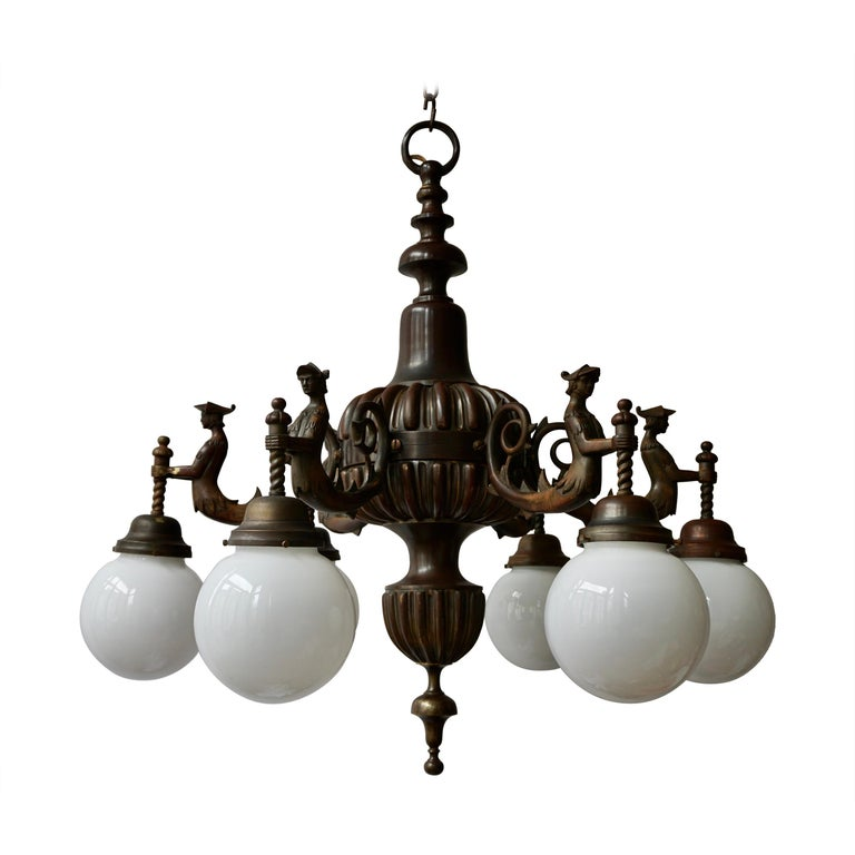 Spectacular Italian Patinated Bronze Figural Chandelier For Sale