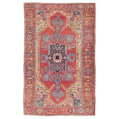 Spectacular Large Antique Persian Bakshaish Serapi Rug with Beautiful Colors
