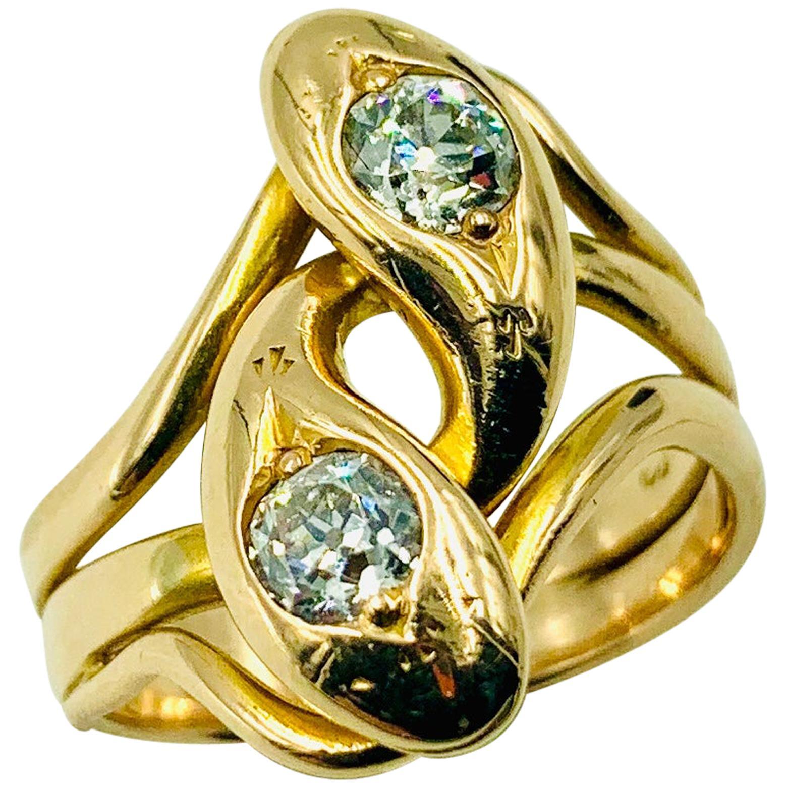 Spectacular Large Double Diamond Snake Ring, 14 Karat Yellow Gold, 19th Century