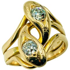 Spectacular Large Double Diamond Snake Ring, 14 Karat Yellow Gold, 19th Century