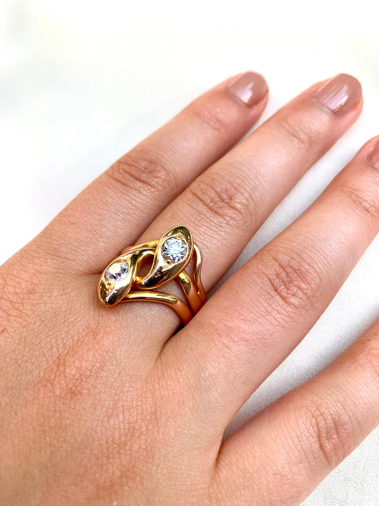 Old European Cut Spectacular Large Double Diamond Snake Ring, 14 Karat Yellow Gold, 19th Century For Sale