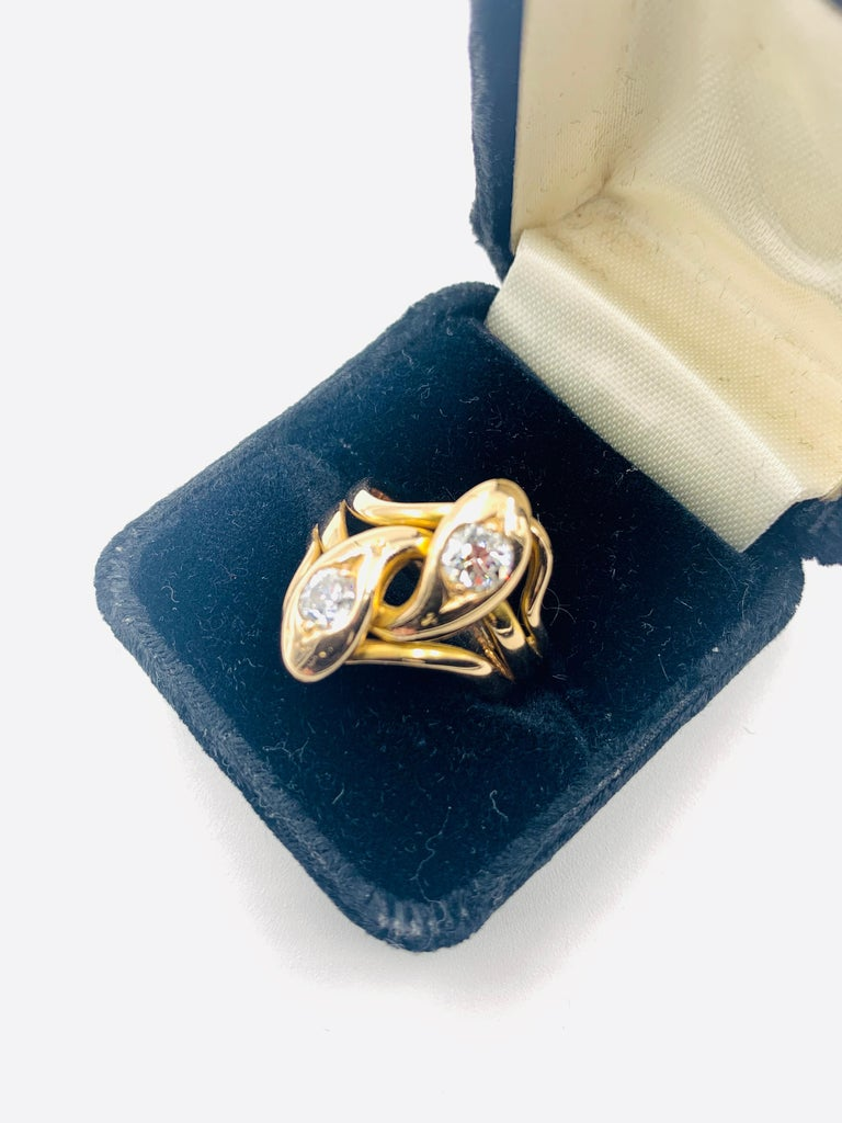 Spectacular Large Double Diamond Snake Ring, 14 Karat Yellow Gold, 19th Century In Good Condition For Sale In New York, NY