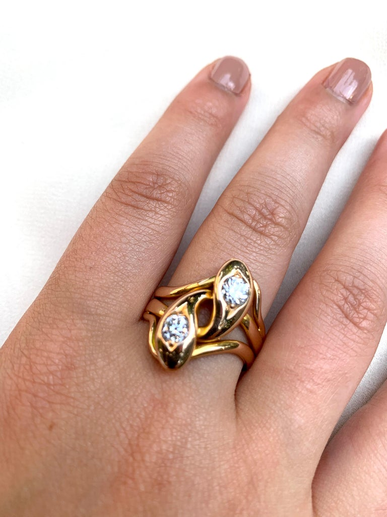 Women's or Men's Spectacular Large Double Diamond Snake Ring, 14 Karat Yellow Gold, 19th Century For Sale