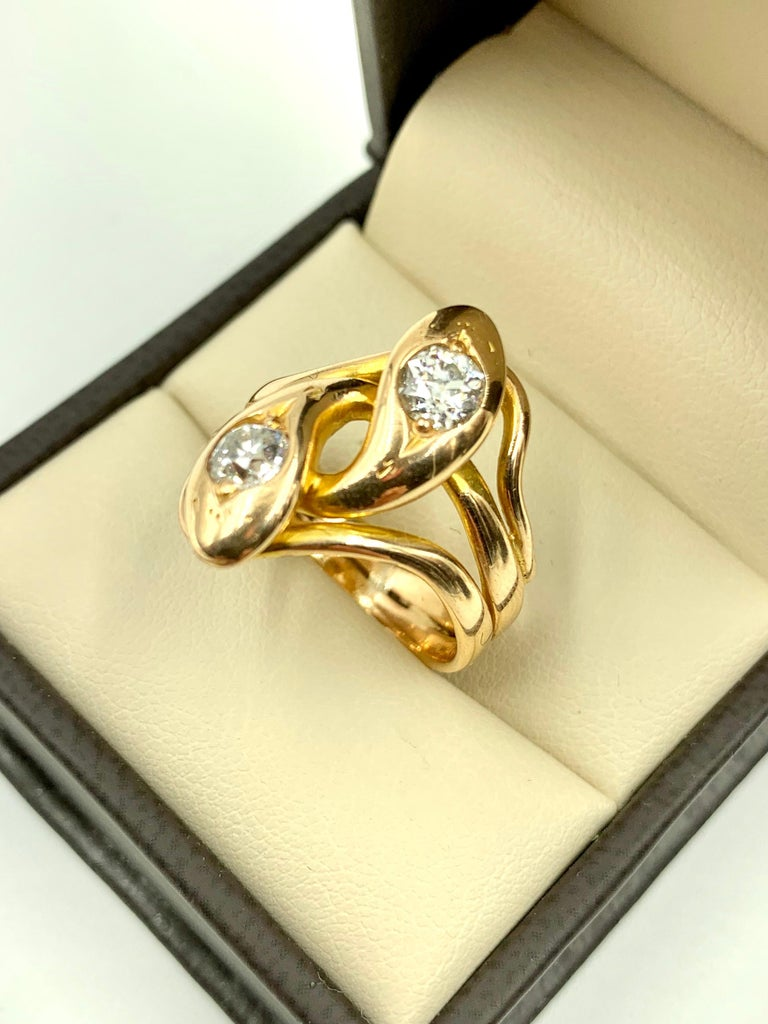 Spectacular Large Double Diamond Snake Ring, 14 Karat Yellow Gold, 19th Century For Sale 1
