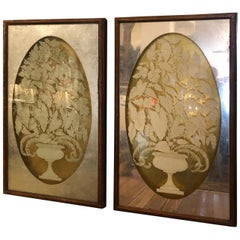 Spectacular Large Églomisé Reverse Painting on Glass Silver and Gold Leaf Panels