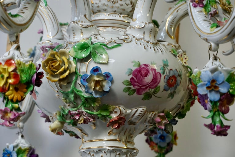 Spectacular Large Italian Rococo Style Porcelain Floral Chandelier For Sale 5