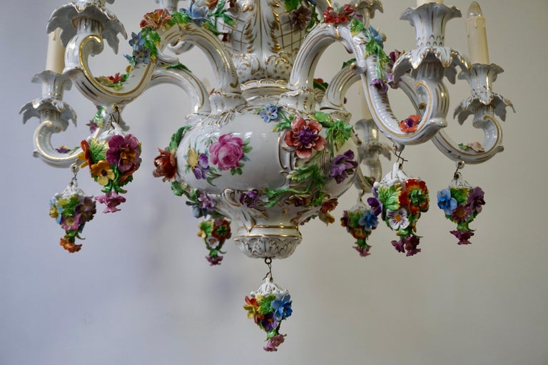 Spectacular Large Italian Rococo Style Porcelain Floral Chandelier For Sale 6