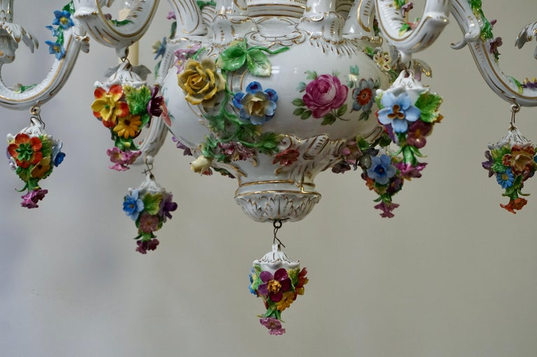 Spectacular Large Italian Rococo Style Porcelain Floral Chandelier For Sale 7