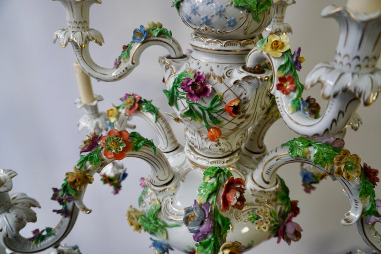 Spectacular Large Italian Rococo Style Porcelain Floral Chandelier For Sale 8