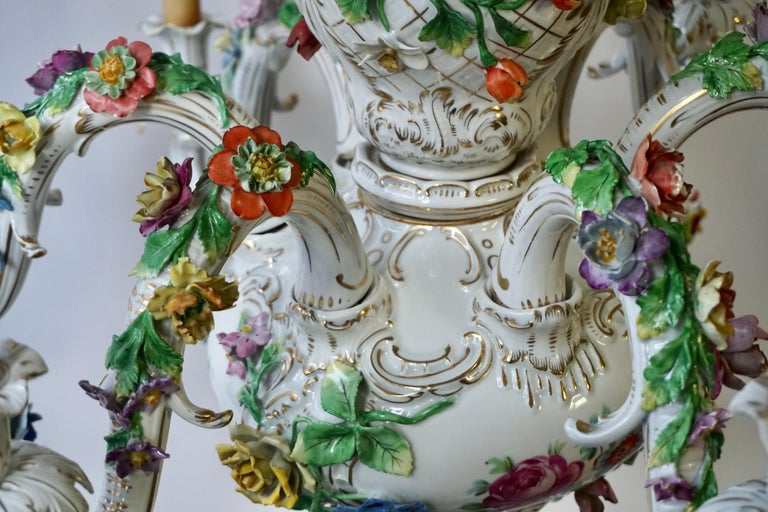 Spectacular Large Italian Rococo Style Porcelain Floral Chandelier For Sale 9