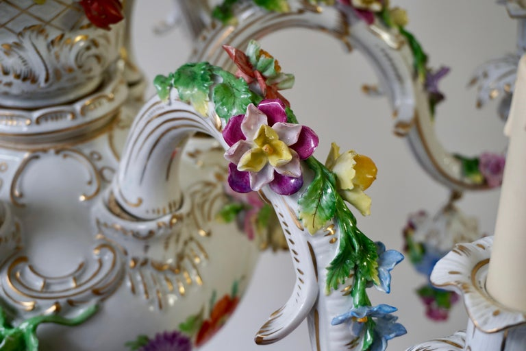 Spectacular Large Italian Rococo Style Porcelain Floral Chandelier For Sale 10