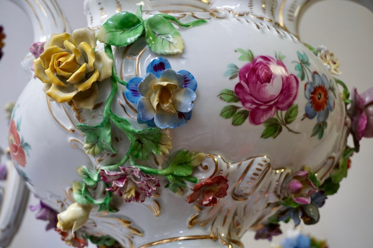 Spectacular Large Italian Rococo Style Porcelain Floral Chandelier For Sale 11
