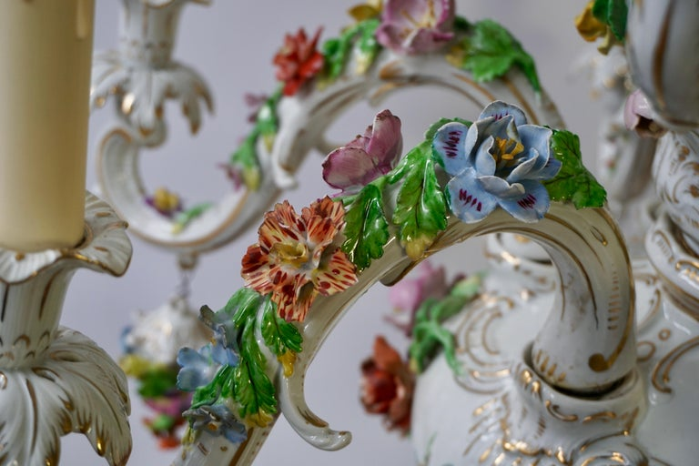 Spectacular Large Italian Rococo Style Porcelain Floral Chandelier For Sale 12