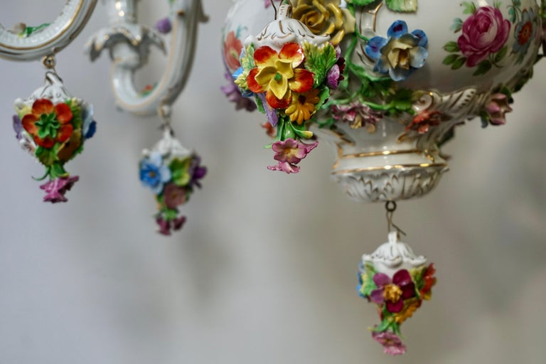 Spectacular Large Italian Rococo Style Porcelain Floral Chandelier For Sale 13